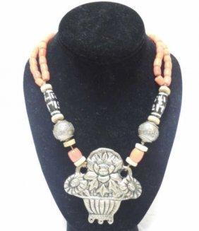 Coral & Carved Metal Tibetan Necklace