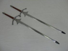 Lot Of 2 Reproduction Medieval Broadswords