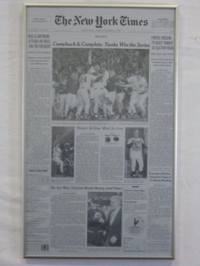 New York Times Front Page Yankees World Series Win