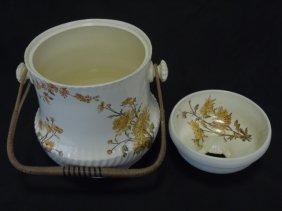 Vintage Painted Porcelain Chamber Pot Floral Mums