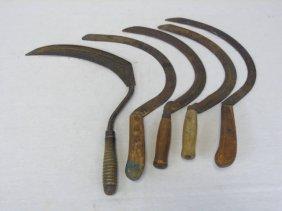 Lot Of 5 Antique American Farm Sickles Wood Handle