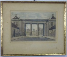 Antique English Signed Architectural Engraving