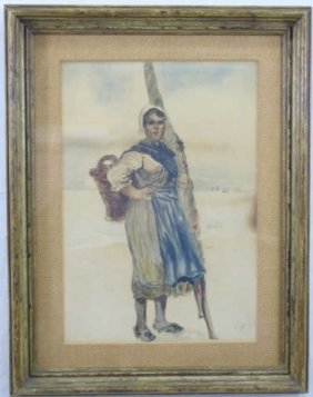 Vintage Framed Signed Watercolor Of Breton Woman
