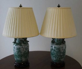 Pair Chinese Lamps Green & White Porcelain