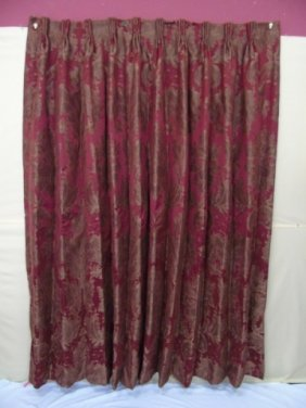 1 Pair Of Silk Damask Drapery Panels W/ Valance