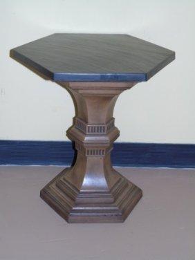 Mid Century Slate Top Table Wood Pedestal Base