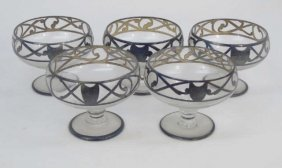 Set Of Blown Glass & Sterling Overlay Goblets