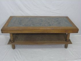 Vintage Carved Wood Chinese Motif Coffee Table