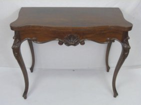 French Rococo Style Mahogany Card Table / Console