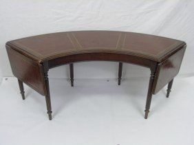 Antique Embossed Leather Drop Leaf Coffee Table