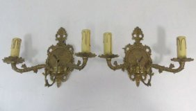 Pair Of Ornate Antiqued Brass Sconces
