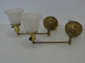 Pair Of Victorian Style Brass Swing Arm Sconces