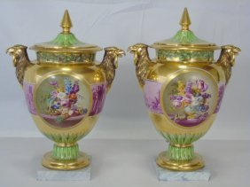Antique 19th C Sevres Style Porcelain Mantle Urns