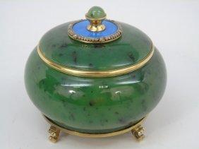 Russian Nephrite Jade Silver Enamel Diamond Box