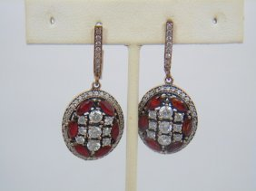 Pair Sterling Silver & Red Cz Ornate Earrings