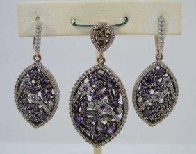 Earrings & Pendant In Sterling Silver W/ Purple Cz
