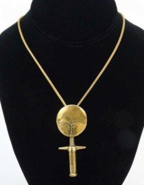 Vintage Sterling African Fertility Totem Necklace