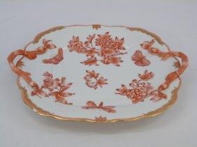 Herend Of Hungary Queen Victoria Rust Platter