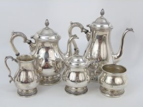 5 Piece Antique Sterling Silver Tea & Coffee Set