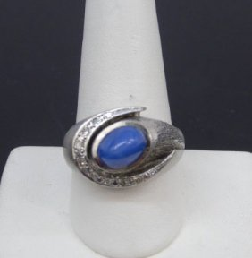 Estate 14kt White Gold Star Sapphire Ring