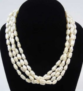 Estate 4 Strand Baroque Pearl & 14kt Gold Necklace