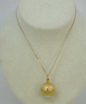 Estate Bucherer Watch Pendant On 14kt Gold Chain