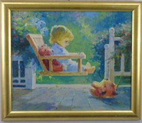 Contemporary Painting - Child In Porch Swing