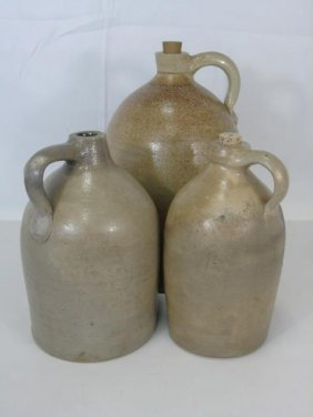 3 Graduated Antique Stoneware Salt Glazed Jugs