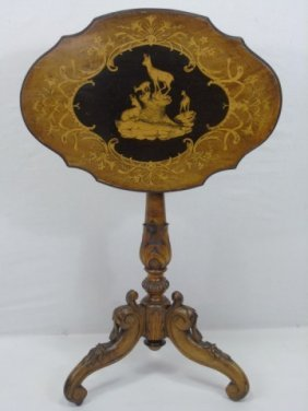 Antique Alpine Black Forest Inlaid Tilt Top Table