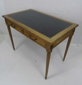 Early 20th C Louis Xiv Style Leather Top Desk