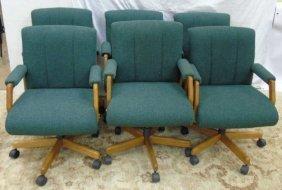 6 Contemporary Oak Office Swivel Desk Chairs