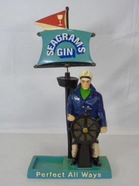 Vintage Seagram Gin Advertisement Statue