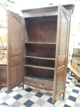 Antique French Oak Armoire W/carved Panel Doors