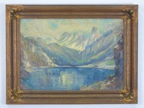 Carl Kaiser-herbst (1858-1940) Alpine Oil Painting