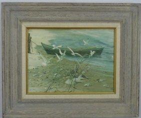 American Mid Century Seagulls On Beach Scene