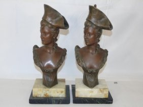 Pair Cast Metal Busts Of Young Napoleonic Women