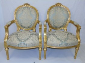 Pair Louis Xvi Gold Upholstered Armchairs