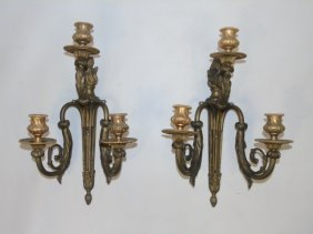2 Gilt Bronze Ormolu French Rococo Style Sconces