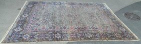 Large Antique Hand Knotted Kirman Style Carpet