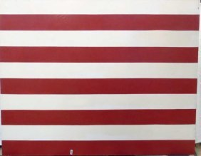 Oil On Canvas By Ford Beckman Red & White Stripes