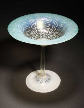 A Tiffany Favrile Green Pastel Glass Compote