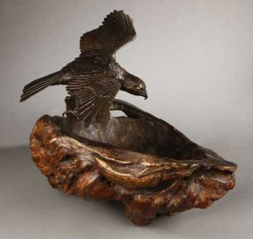 A Japanese Bronze Hawk On Burr Wood Base