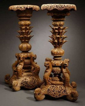 A Pair Of Anglo-Indian Hardwood Jardiniere Stands