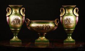 A Sevres Style Green Ground Garniture Vases Urn