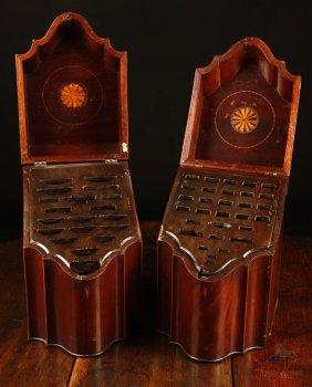 Matched Pair Federal Inlaid Mahogany Knife Boxes