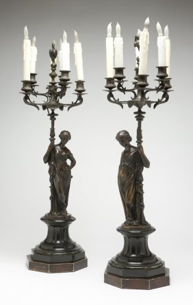 A Pair Of Continental Bronze 6-light Figural Cand