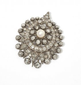 An Antique Diamond And Pearl Pendant