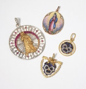 A Group Of Gold, Gem, Diamond & Enamel Pendants