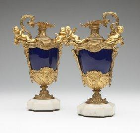 Two Cobalt Enamel & Gilt-bronze Ewers
