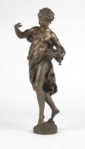 A Large French Bronze Figure Of A Maiden, Moreau